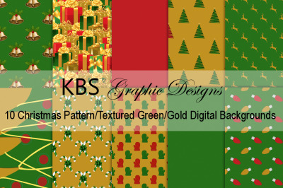 Green and Gold Christmas Pattern Digital Backgrounds