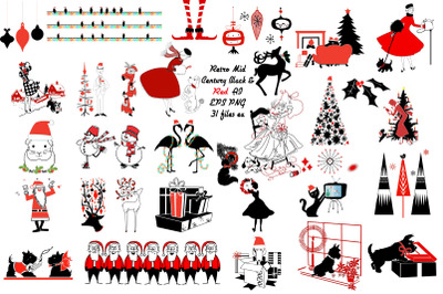 Christmas Retro Red and Black Vector AI EPS PNG