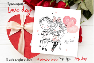 Funny Valentine, love Day, Valentines digital clipart, cute couples
