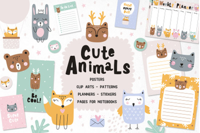 Set cute animals, posters, planner