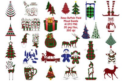 Christmas Buffalo Plaid Elements Mix Bundle AI EPS PNG