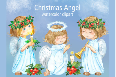Christmas angel watercolor clipart. Girls dressed as an angel.
