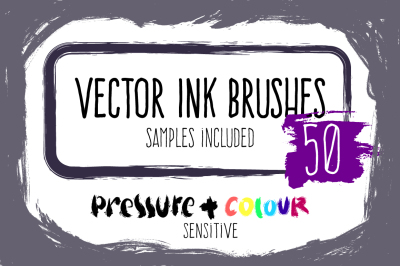 Vector ink brushes set