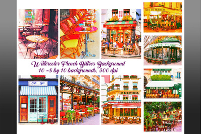 Watercolor French Bistro Backgrounds