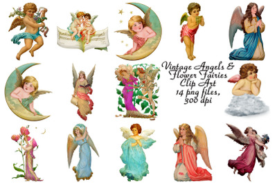 Vintage Angels and Fairies (Restored) Clip Art