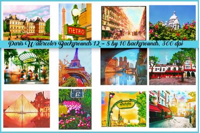 Paris Watercolor Backgrounds and Landmarks