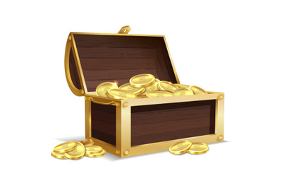 Open wooden chest. Ancient gold shiny coins in large open trunk, medie