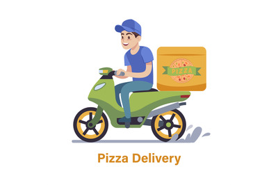 Pizza delivery. Guy on moped fast courier man with box order or parcel