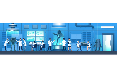Science researching lab. People in white uniform create robot, researc