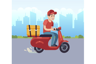 Scooter with delivery man. Fast courier, motorcycle driver to client.