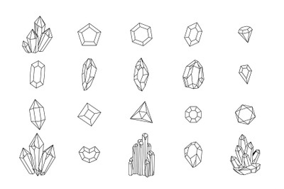 Set of geometric crystals. Black and white line crystals and hand draw