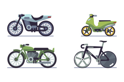 Set of vehicles. Motorcycles of different models, bicycle and motor sc