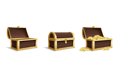 Three large chests. Empty closed chest pile of bright golden coins ins