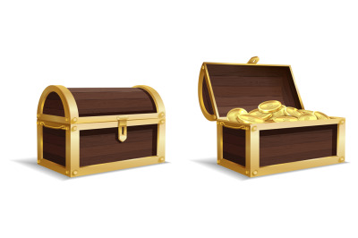 Two large chests. Open, closed chest, pile of gold coins inside vintag