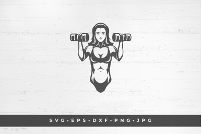 Woman exercising with two dumbbells icon isolated on white background