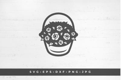 Basket with roses on white background vector illustration. SVG, PNG, D