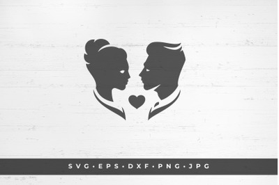 Silhouettes of bride and groom on white background vector illustration