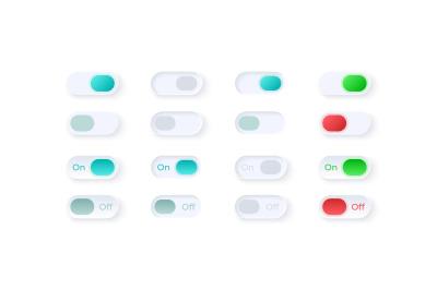 Flip buttons UI elements kit