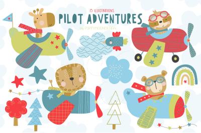 Pilot Adventures clipart set