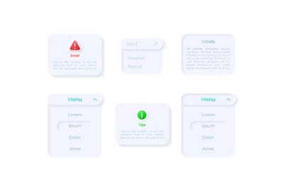 Info panels UI elements kit