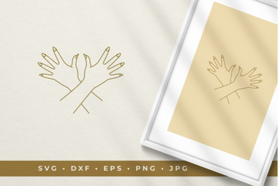 Gesture hands and nails line art graphic style vector illustration pri