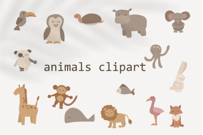 children's clipart with animals - animals in vector-fish svg