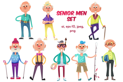Funny senior men set