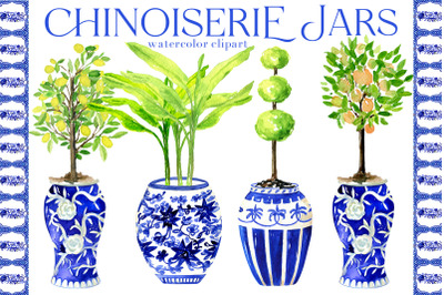 Chinoiserie Blue Jars. Watercolor Clipart