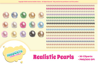 Realistic pearls cliparts and borders