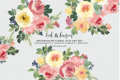 Red and Lemon Watercolor Bouquet Clipart