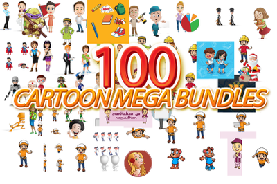 EXTRA BUNDLES 100 CARTOON MASCOT MEGA PACK