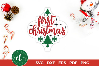 Christmas SVG, First Christmas, Arabesque Tile Ornament SVG