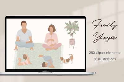 Family Yoga  Illustration Set