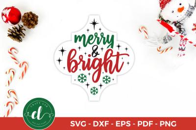 Christmas SVG, Merry & Bright, Arabesque Tile Ornament SVG