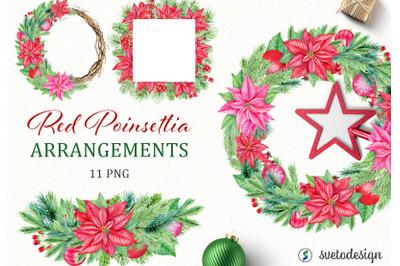 Christmas Red Poinsettia arrangememnts watercolor clipart.