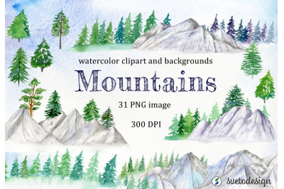 Watercolor Mountain Clipart. Woodland winter forest clip art.