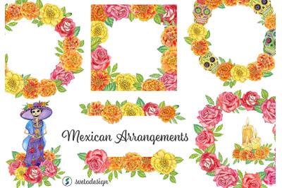 Watercolor mexican floral arrangements clipart. El Da de Muertos