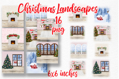 Christmas Landscapes Winter backgrounds Mug templates