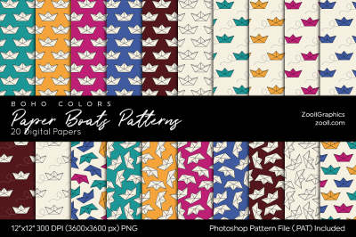 Paper Boats Boho Digital Papers