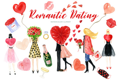 Romantic Dating.  St Valentine's Day Watercolor Clipart.     This set