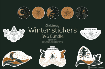 Christmas Winter stickers SVG Bundle, Winter graphics SVG