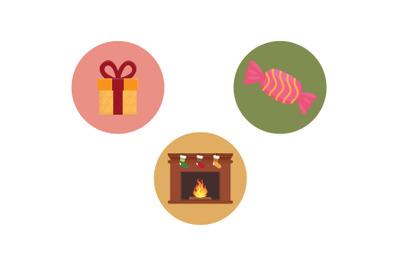 Christmas Icon Gift Vector Bundle