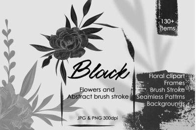 Black Flowers And Abstract Clipart