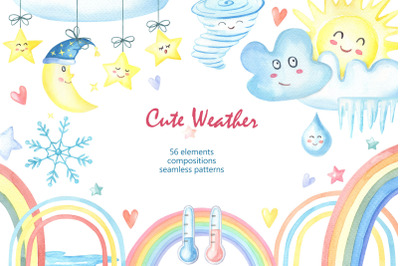 Cute Weather.Watercolor