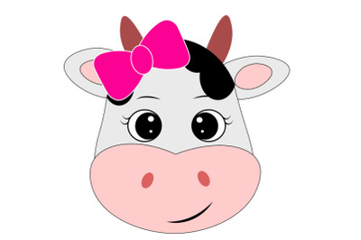 Cow face svg with bow, Cute cow svg, Cow clip art, Cow svg design, Far