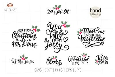 Romantic Christmas wishes svg. Family holidays quotes.