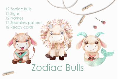 Watercolor Bulls Zodiac 2021