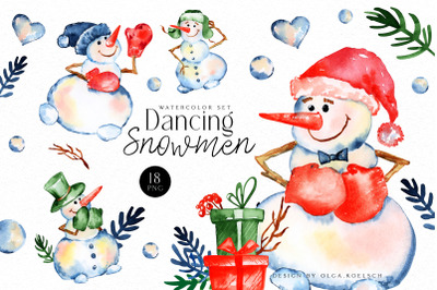 Watercolor snowman clipart, Cute Christmas diy,  Winter clipart with presents and snow