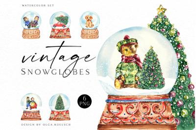 Watercolor christmas snow globe clipart, Vintage Christmas diy cards