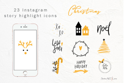 Christmas instagram story highlight icons, story stickers